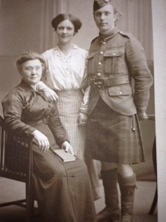 Family photograph with soldier